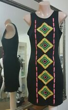 Mika & Gala embroidered Aztec dress.Sz8.Stretch bodycon.Excelent cond.
