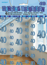**40TH BIRTHDAY CELEBRATIONS**   Pack of 6 - 40th Hanging String Decorations!