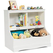Children's Storage Bookcase Kids Floor Cabinet Toys Bin Display Organizer White
