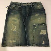 Polo Ralph Lauren Lawrence Denim Jean Pencil Skirt Women's Size 2 Distressed NWT