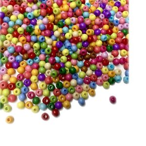 500x Solid Chunky Acrylic Small 4mm Ball Beads - Pick Your Colour