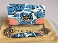 Auth Louis Vuitton Epi Aqua Twist Chain Wallet Shoulder Bag Blue/Pink  M56237