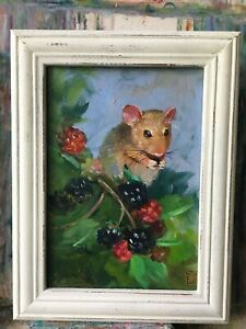 Original Oil Painting Flowers Harvest   Mouse 🐭   7x5 in  Unframed