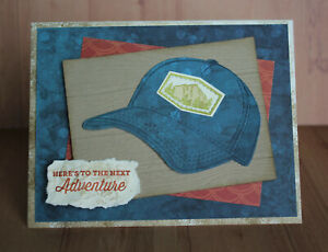 Handmade HERE'S TO THE NEXT ADVENTURE masculine card kit made w/ Stampin Up hat