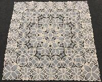 """Beige 51x51"""" Square Cotton Polyester Embroidery Tablecloth Wedding Bridal Events"""