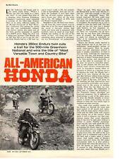 1970 HONDA 350cc ENDURO TWIN MOTORCYCLE ~ ORIGINAL 2-PAGE ARTICLE / AD