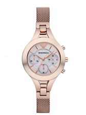 NEW EMPORIO ARMANI CHRONO STAINLESS STEEL MOTHER OF PEARL LADIES WATCH AR7391