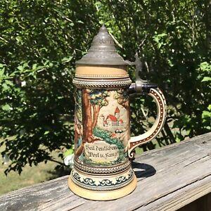 Antique Circa 1900 German Beer Stein Marzi & Remy #55 Pewter Lid 1/2 Liter