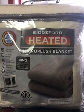BIDDEFORD MicroPlush King ELECTRIC BLANKET with DUAL CONTROLLERS Cream