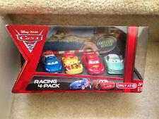 PIXAR CARS 2 RACING 4-pack MCQUEEN MIGUEL DENISE BEAM RAOUL CAROULE TARGET