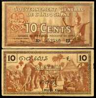 FRENCH INDO CHINA 10 CENTS P 85 d SIGN 14 XF+