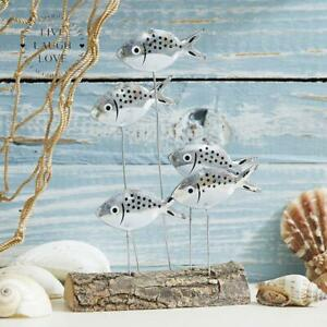 Nautical Shoal of Fish Silver Bream Shelf Sitter on Wooden Base