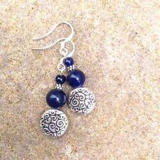 Lapis Lazuli blue gemstone drop earrings. Celtic spiral silver bead. Irish