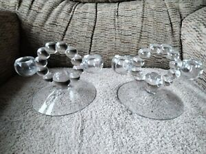 2 Imperial Glass Candlewick Pair Double Candle Holders