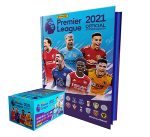 PREMIER LEAGUE 2021 Panini 2020-21 English soccer 50 packs BOX + HARDCOVER ALBUM
