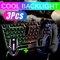Juego De Teclado Mouse Audifonos Gamer Para Gaming Multicolor LED Raton Mouse US