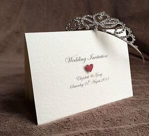 10x Personalised Handmade Wedding Day/Evening Invitations & Envelopes (Victoria)