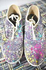 80s Vtg ~ Splatter Paint Canvas Sneakers ~ Deadstock ~ New Wave Street Style ~ 8