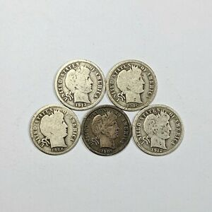 5 Different Dates Barber Head Silver Dimes 181280B