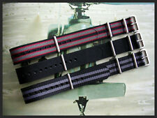 22mm Black Grey NATO g10 watchband 3pak Stitch MoD RAF Bonded IW SUISSE 18 20 24
