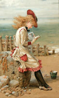 Dream-art art Oil painting beautiful young girl reading book by beach & seascape