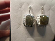 Labradorite w/Diamond Accent Earrings, Cushion Cut in Platinum Overlay-12.81 CTW