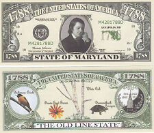 50 Maryland MD State Quarter Novelty Money Bills Lot