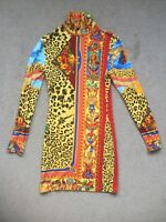 Vintage VERSUS by Gianni Versace Greek Leopard Theme Collector Print Dress 42