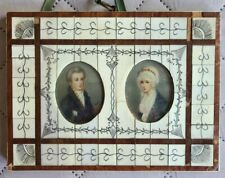 2 Antique Miniature Portrait Paintings Man Woman 19th century American English