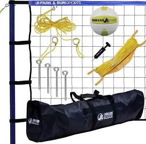 Park & Sun Spiker Sport Steel Blue Portable Outdoor Volleyball Net Set w/ Bag