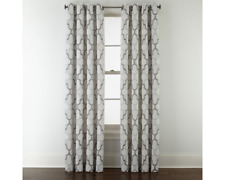 JCPenney Home Casey Jacquard Grommet-Top ONE Curtain Panel 50 X 84 Pewter Gray