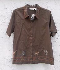 New Women's Lemon Grass Woman S/S Cotton/Linen Animals Safari Shirt Size 18/20W