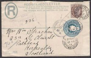 1911 INTERPROVINCIAL ERA CAPE 2D ON NATAL REGISTERED PSE LADYSMITH TO KIRKCALDY