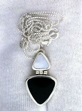 """1 Inch Hindged Trillion Mother Of Pearl Onyx Sterling 18"""" Chain & Pendant  PSP3"""