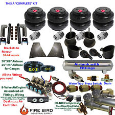"Air Suspension Kit 3/8"" Manifold Shock Relocater 1958-64 Chevy Impala 5 Gal xzx"