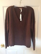 NEW W/TAGS LILLA P SIZE XL BROWN COTTON & CASHMERE LONG SLEEVE V-NECK SWEATER