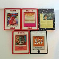 Vintage 70's Lot of 5 Various Artists 8-Track Tapes Country, Rock, South Pacific