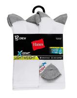 Hanes Men's X-Temp® FreshIQ™ Crew Socks - 12-Pack - Shoe Size 6-12 - White - NEW