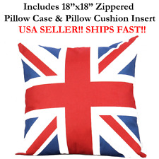"18x18 18"" UK U.K. UNITED KINGDOM British FLAG Zipper Pillow Case Cushion England"