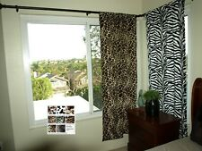 "Animal Print Curtains (2 panels) 62"" Long  Cow, Zebra, Leopard, and giraffe"