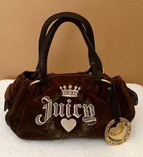 JUICY COUTURE Brown Velour Handbag Purse Small Tote
