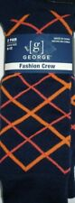George Men's 2 Pack Fashion (Diamonds & Stripes) Crew Socks Size 6-12  NEW!!!!