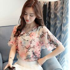 Summer Women Floral Printed Butterfly Sleeve V-Neck Casual Chiffon Blouse Shirt