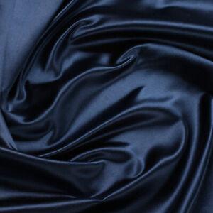 Stoff Seide Satin marine anschmiegsam dunkelblau