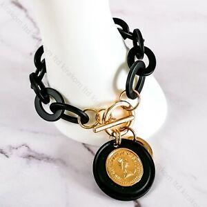 Vintage Acrylic Chunky Chain Link Statement Bracelet Retro Coin Pendant Fashion