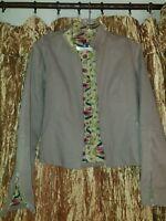Gorgeous Khaki Liberty Print Jacket Small 100% Cotton Excellent Condition