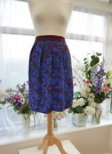 TOAST SHORT BURGUNDY & BLUE FAUX SARONG STYLE SKIRT WITH POCKETS 14