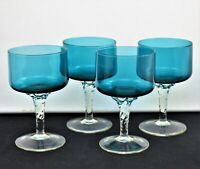 VINTAGE ITALIAN SET OF 4 BLUE CLEAR WINE GOBLETS CORDIALS