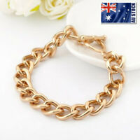 18K Gold Plated Classic Women's 10mm Solid Curb Chain Charm Bracelet 8''  36g