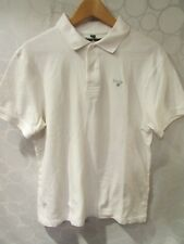 BARBOUR White Cotton Short Sleeve Polo Golf Shirt Size L